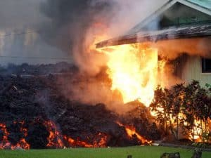 Kilauea Lava Setting Fire to and Overrunning House