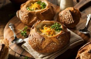 Two Panera Bread Bowls Filled with Soup