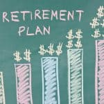 "Rising Bar Graph on Chalkboard Titled ""Retirement Plan"""