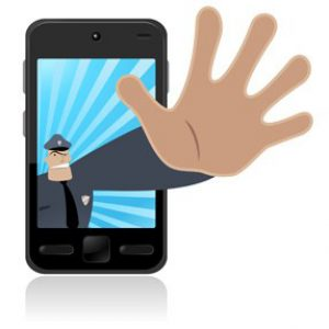 Cell Phone with Policeman Reaching Out of Screen