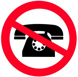 Telephone in Red Circle with Strike-Through