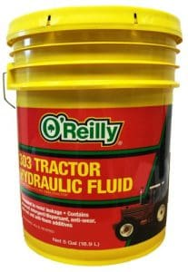 Five-Gallon Container of O'Reilly Automotive 303 Tractor Hydraulic Fluid