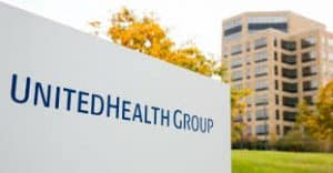 UnitedHealth Group Sign with Building in Background