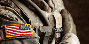 Close-Up of American Flag Patch on Uniform