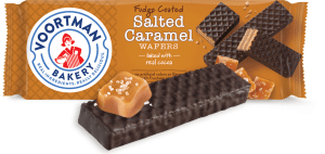 Package of Voortman Fudge Coated Salted Caramel Wafers