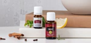 Bottles of Young Living's Thieves' Oil